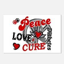 Peace Love Cure 2 Diabetes Postcards (Package of 8