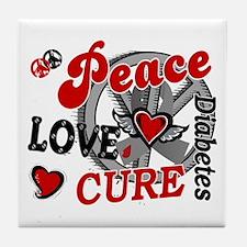 Peace Love Cure 2 Diabetes Tile Coaster