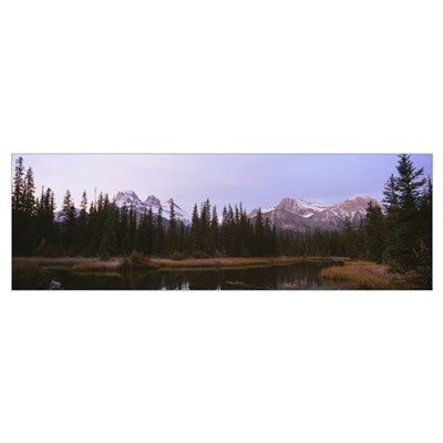 Lake in a forest, Three Sisters Mountain, Mt Lawre Poster