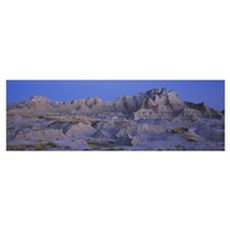 Rock formations on a landscape, Badlands National  Poster