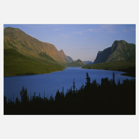 Mountains along a river, Trout pond, Gros Morne Na