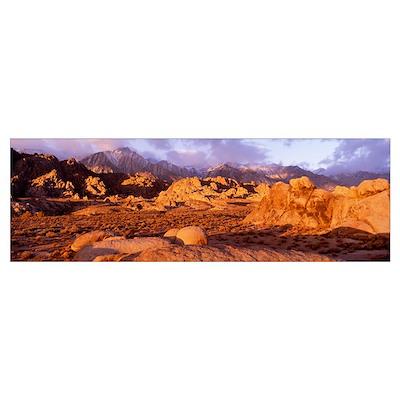 Dawn, Mt. Whitney, Alabama Hills, California Poster