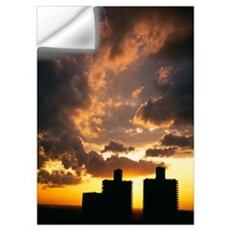 Skyscrapers in a city at sunset, Marina Towers, Ch Wall Decal