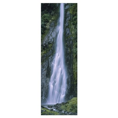 Waterfall in a forest, South Island, New Zealand Poster