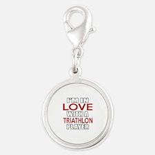 I Am In Love With Triathlon Pl Silver Round Charm