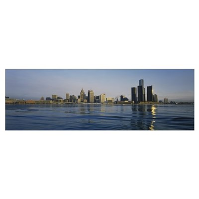 Buildings at the waterfront, Detroit, Michigan Poster