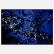 High angle view of a village, Davos, Graubuenden,