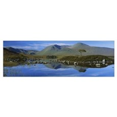 Reflection of mountains in water, Black Mount, Ran Canvas Art