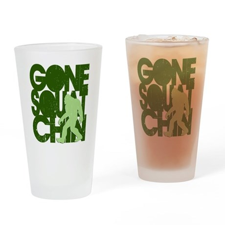 Gone Squatchin' Green Distres Drinking Glass