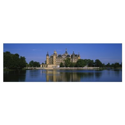 Reflection of a castle in water, Schwerin Castle, Poster