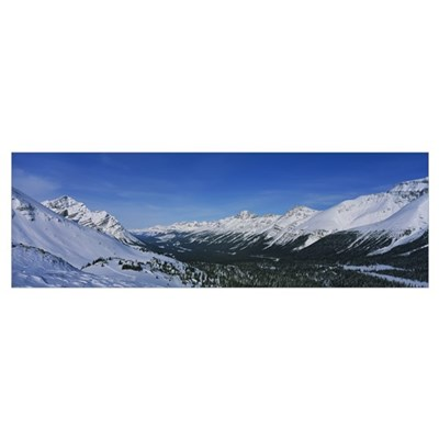 Snowcapped mountains on a landscape, Bow Summit, B Canvas Art
