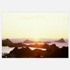 Silhouettes of hills on the coast at sunset, Corom