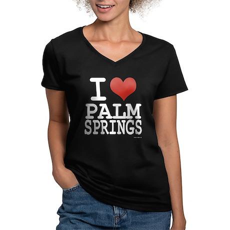 I love Palm Springs Women's V-Neck Dark T-Shirt