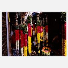 Garlands hanging at a market stall, Pondicherry, I