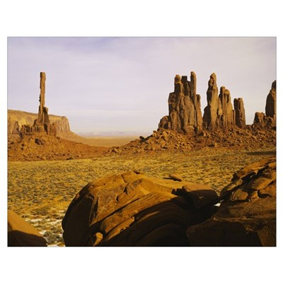 Rock formations on a landscape, Totem Pole Rock, Y Poster