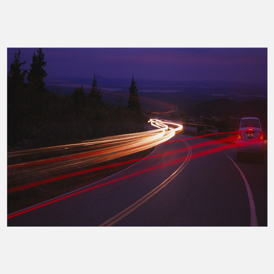 Cars moving on the road, Mount Desert Island, Acad