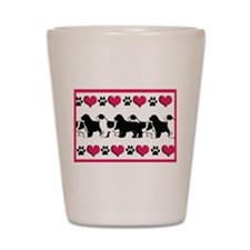 Newf Hearts and Paws Shot Glass
