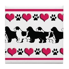 Newf Hearts and Paws Tile Coaster