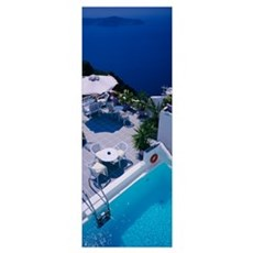 High angle view of a swimming pool, Spiliotica Vil Poster