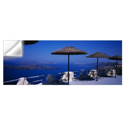 Table and chairs on a balcony, Santo Winery, Fira, Wall Decal