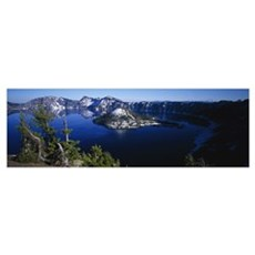 High angle view of a lake, Crater Lake, Crater Lak Poster