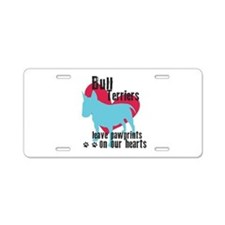 Bull Terrier Pawprints Aluminum License Plate