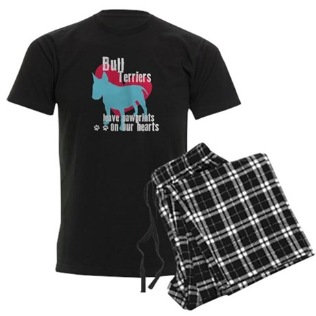 Bull Terrier Pawprints Men's Dark Pajamas