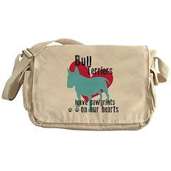 Bull Terrier Pawprints Messenger Bag