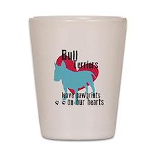 Bull Terrier Pawprints Shot Glass