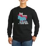Bull Terrier Pawprints Long Sleeve Dark T-Shirt