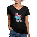 Bull Terrier Pawprints Women's V-Neck Dark T-Shirt