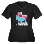 Bull Terrier Pawprints Women's Plus Size V-Neck Da