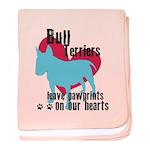 Bull Terrier Pawprints baby blanket