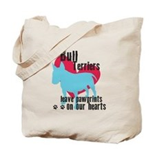 Bull Terrier Pawprints Tote Bag
