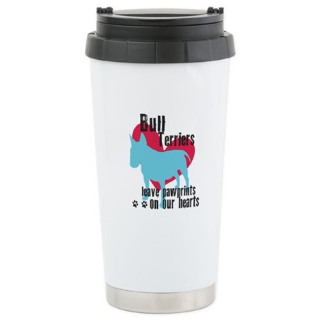 Bull Terrier Pawprints Stainless Steel Travel Mug