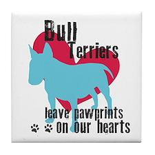 Bull Terrier Pawprints Tile Coaster