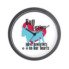 Bull Terrier Pawprints Wall Clock