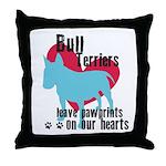 Bull Terrier Pawprints Throw Pillow