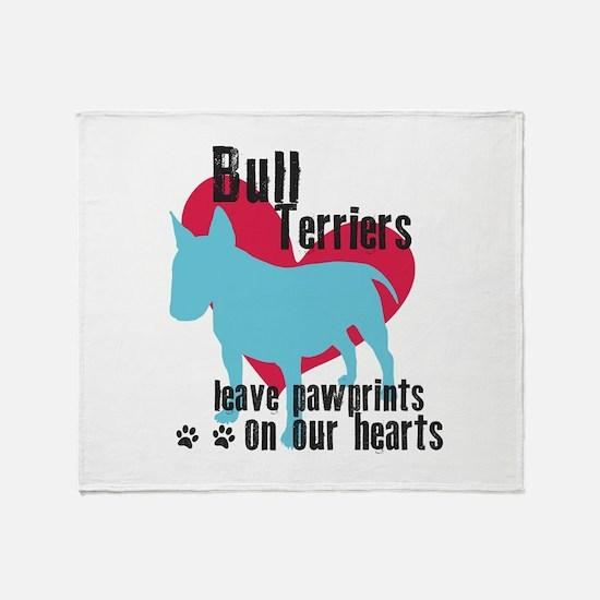Bull Terrier Pawprints Throw Blanket