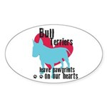 Bull Terrier Pawprints Sticker (Oval 10 pk)