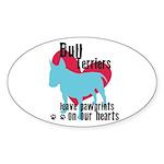 Bull Terrier Pawprints Sticker (Oval 50 pk)