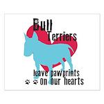 Bull Terrier Pawprints Small Poster