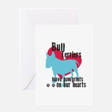Bull Terrier Pawprints Greeting Card