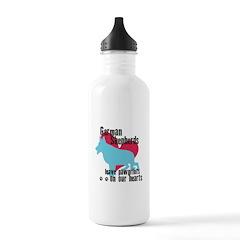German Shepherd Pawprints Water Bottle