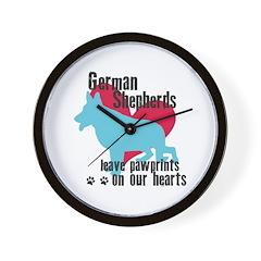 German Shepherd Pawprints Wall Clock