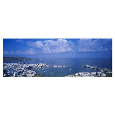 High angle view of buildings at a coast, Mykonos, Poster