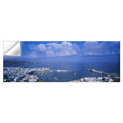 High angle view of buildings at a coast, Mykonos, Wall Decal