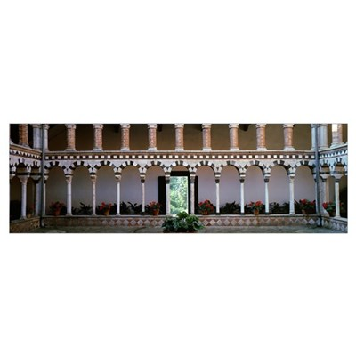 Interiors of a church cloister, Tuscany, Italy Framed Print