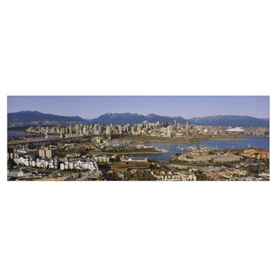 Aerial view of buildings in a city, Vancouver, Bri Framed Print