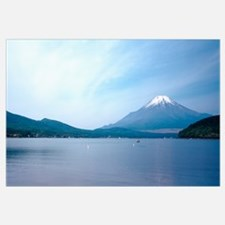 Mountains near a lake, Mt Fuji, Yamanaka Lake, Yam